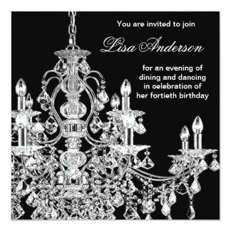 Black Chandelier Womans  40th Birthday Party Card