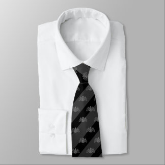 Black & Charcoal Grey Stripe Silver Lion Emblem Tie