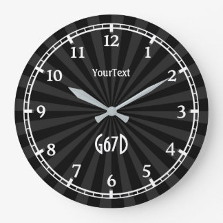 Black Charcoal Sunburst Dial Text and Monogram on Wall Clock