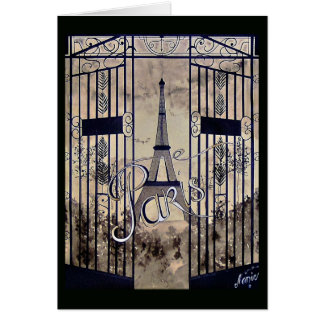 black chart Old man Paris arabesques gate sepia Card