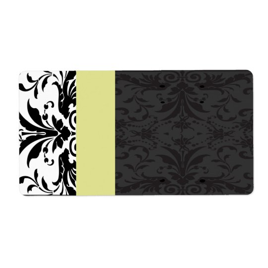 Black &  Chartreuse Damask  Address Labels -