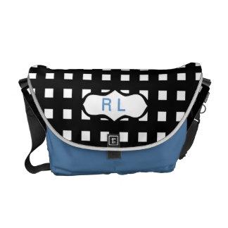 Black Check Monogrammed Messenger Laptop Bag Messenger Bag