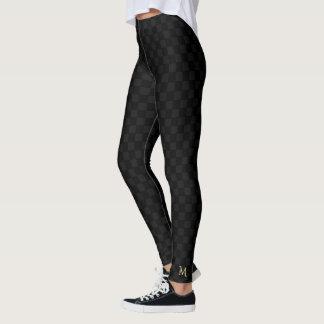 Black Check Pattern Monogram Full Length Leggings