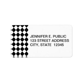 Black Checkered Mod Racing Pattern Label