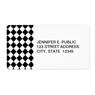 Black Checkered Mod Racing Pattern Shipping Label