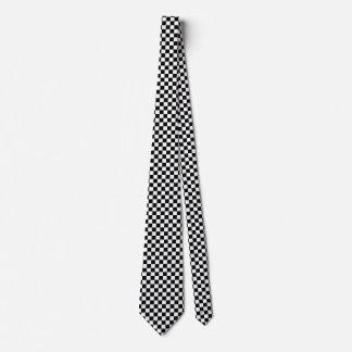 Black Checkered Mod Racing Pattern Tie