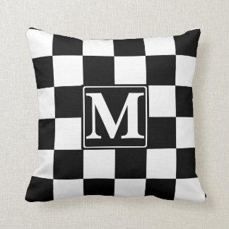 Black Checkered Monogram Throw Pillow