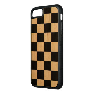 Black Checkered Pattern on Natural Wood Carved iPhone 8/7 Case