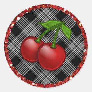 Black Checkered Plaid Cherries Stickers