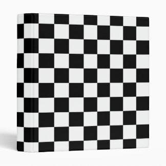 Black Checkered Racing Pattern Speedway Checkers Vinyl Binder