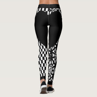 Black Checkers and Lace Heart Leggings