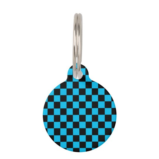 Black checkers on blue background pet ID tag