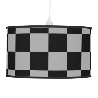 Black checkers on gray background pendant lamp