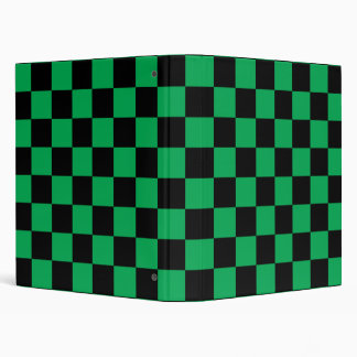 Black checkers on green background 3 ring binder