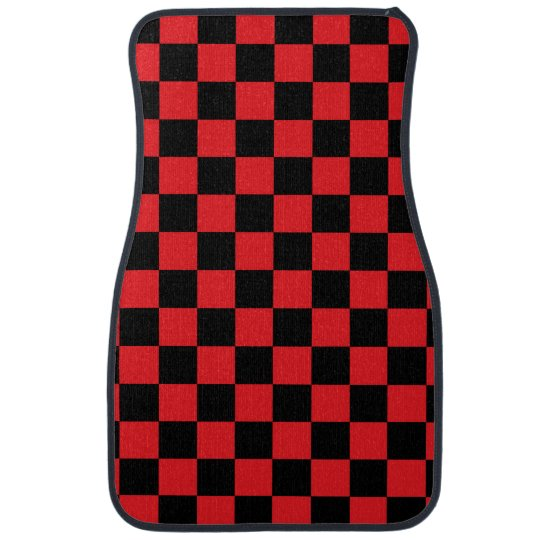 Black checkers on red background car mat