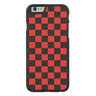 Black checkers on red background carved® maple iPhone 6 case