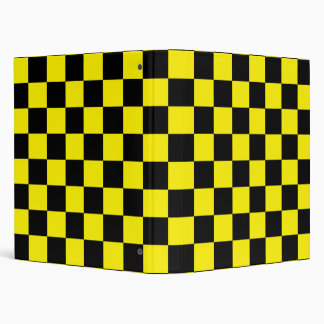 Black checkers on yellow background binder