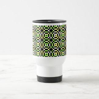 Black checks patterned travel mug