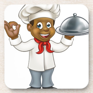 Black Chef Cartoon Character Coaster