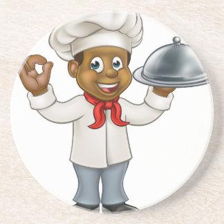 Black Chef Cartoon Character Coaster