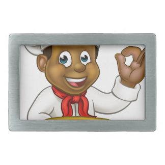 Black Chef Cartoon Character Mascot Belt Buckle