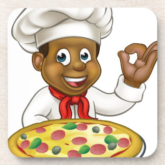Black Chef Cartoon Character Mascot Coaster