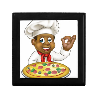 Black Chef Cartoon Character Mascot Gift Box