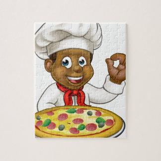 Black Chef Cartoon Character Mascot Jigsaw Puzzle