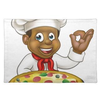 Black Chef Cartoon Character Mascot Placemat