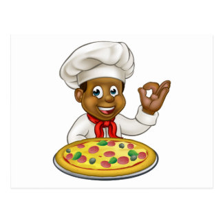 Black Chef Cartoon Character Mascot Postcard