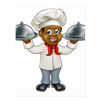 Black Chef Cartoon Character Postcard