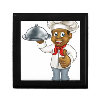 Black Chef Cartoon Character with Platter Gift Box