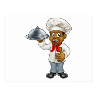 Black Chef Cartoon Character with Platter Postcard