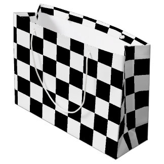 Black Chequered Large Gift Bag