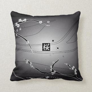 Black Cherry Blossom Tree Throw Pillow