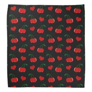 Black cherry hearts pattern kerchief