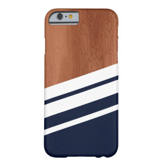 Black Cherry Wood  - Blue & White Chevron Barely There iPhone 6 Case
