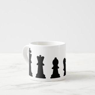 Black chess pieces on white