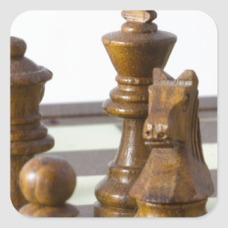 Black chess pieces square sticker