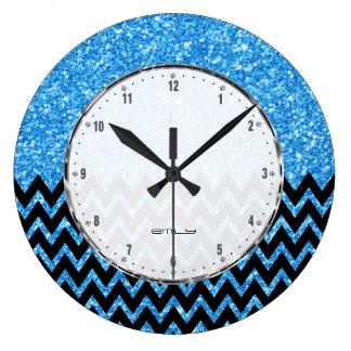 Black Chevron Blue Faux Glitter Large Clock