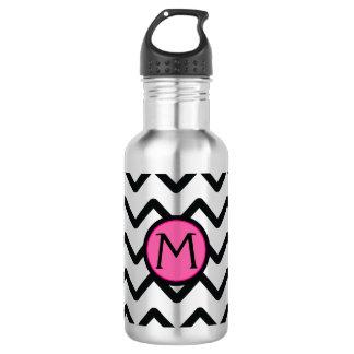 Black Chevron Monogram 532 Ml Water Bottle