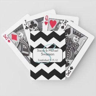 Black Chevron Monogram Playing Cards
