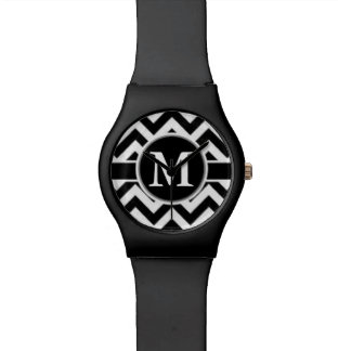 Black Chevron Monogram Wristwatch