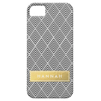 Black Chevron Pattern with Gold Faux Foil Name iPhone 5 Covers