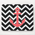 Black Chevron Pink Anchor Mouse Pad