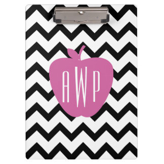 Black Chevron Pink Apple Monogram Teacher Clipboard