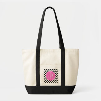 Black Chevron & Pink Monogram Tote Bag