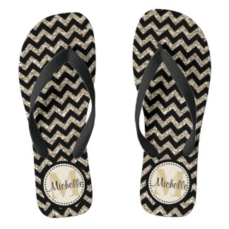 Black Chevron Silver Gold Personalized Flip Flops