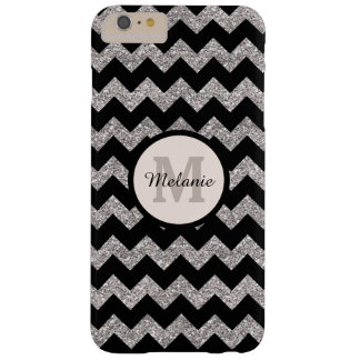 Black Chevron Silver Gray Monogram Barely There iPhone 6 Plus Case