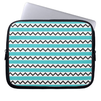 Black chevron zigzags and aqua blue stripes computer sleeves